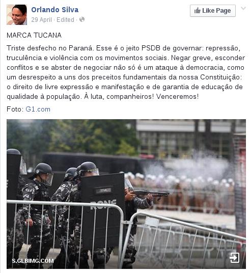 Orlando Silva sobre violencia policial no Paraná