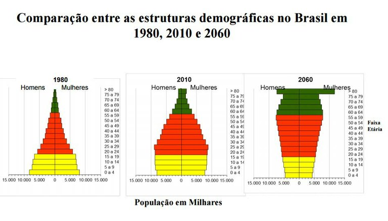 Pirâmides populacionais 1980-2060