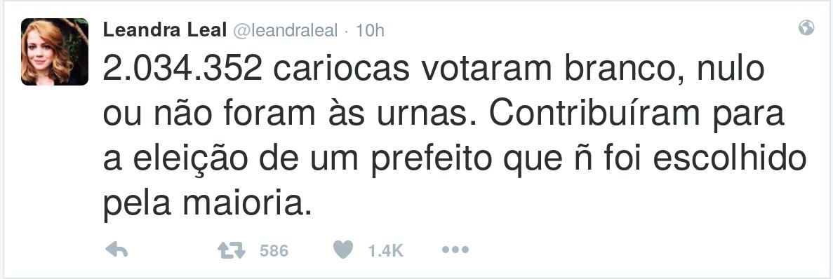 Leandra Leal: Crivella não foi eleito por uma maioria