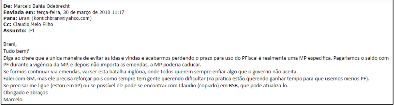 Marcelo Odebrecht sugere a Palocci Medida Provisória que atende à empresa